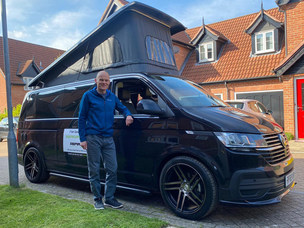 Winner Richard Collyer of a 2020 VW T6.1 - Black 2.0 TDI- 10th May
