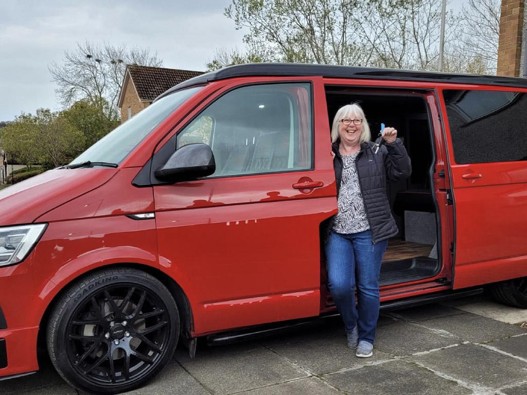 Winner Maureen Redpath of a Red VW T6 2.0 BITDI Highline - 280bhp - DSG - Off Grid - 26th April