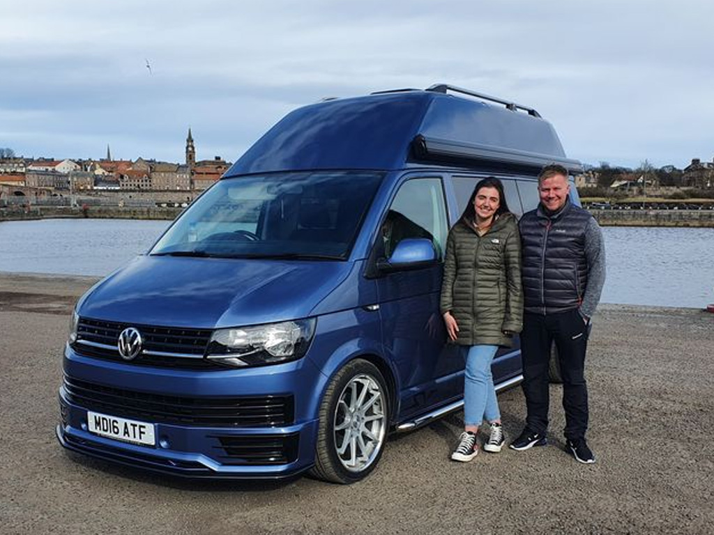 Winner Robbie Skelly of a 2016 VW T6 Hightop – 140bhp