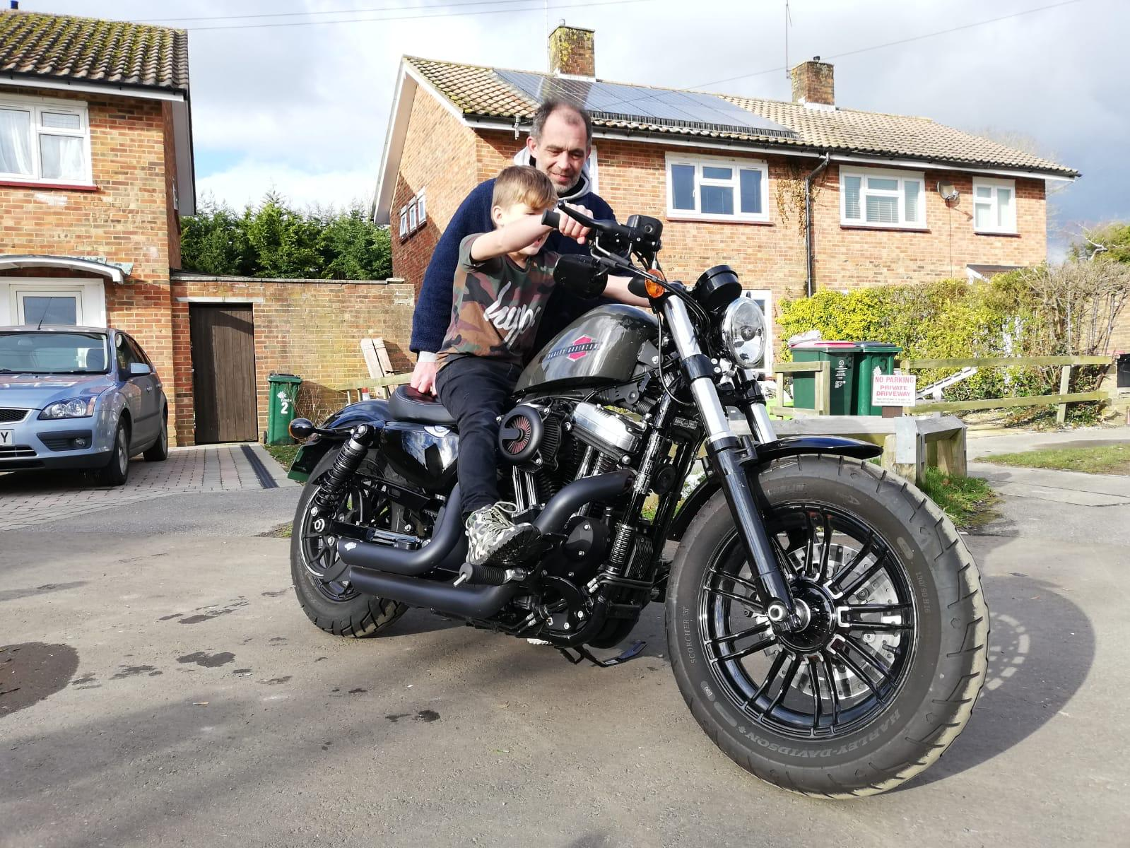 Winner James Rowe of a 2019 Harley Davidson Forty Eight
