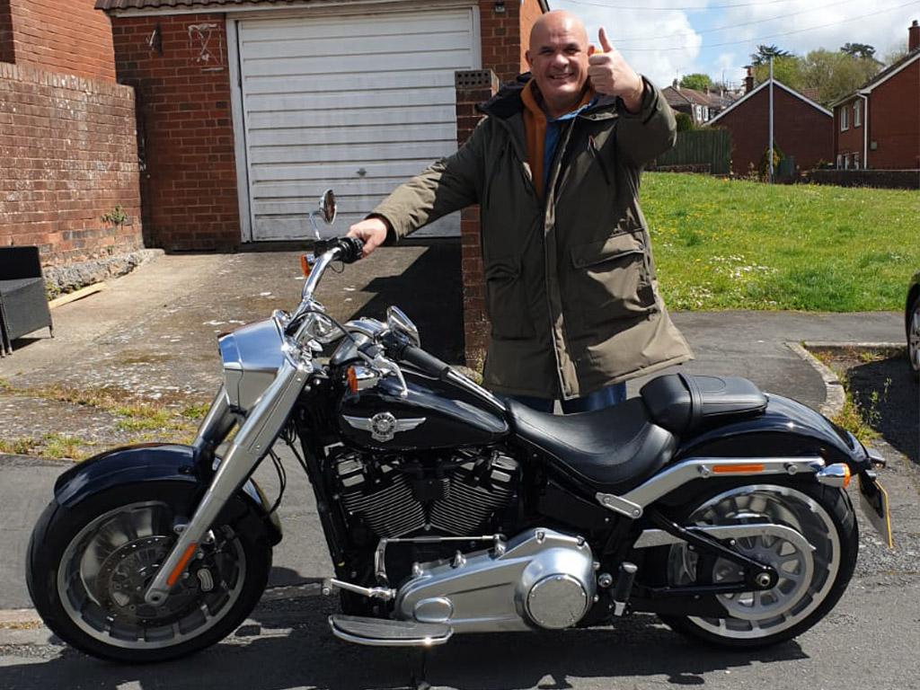 Winner Martin Matthews of a 2020 Harley Davidson 'Fatboy' - 10th May