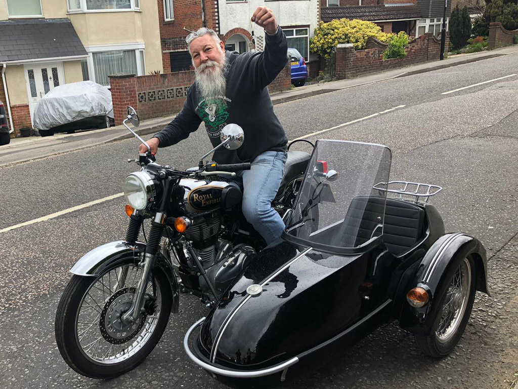 Winner David Scott of a 2010 Royal Enfield Bullet and Classic Sidecar - 5th April