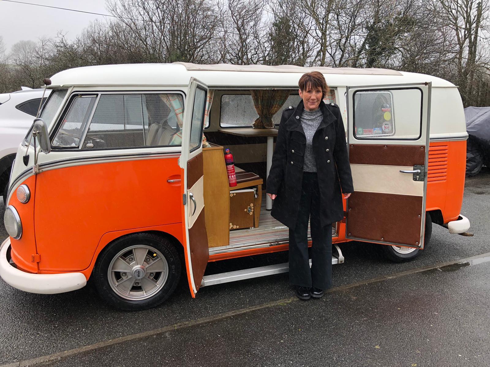 Winner Heather Richards of a 1966 VW Split Screen RHD Camper Van - The Tangerine Tickler - 22nd March