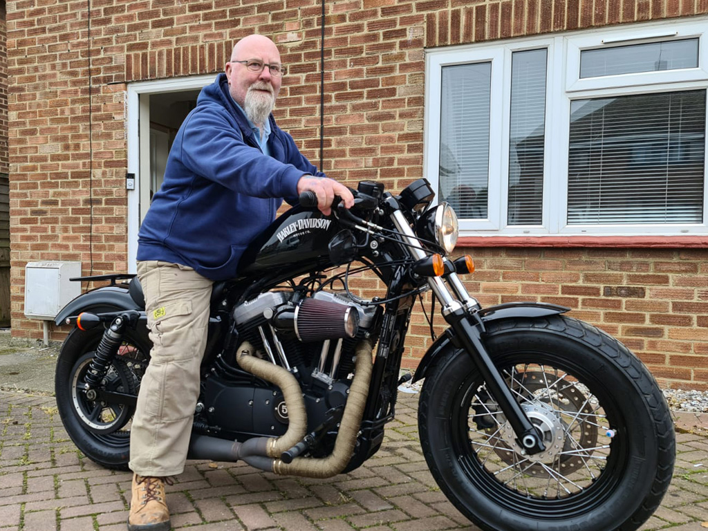 Winner barry macaskill of a 2014 Harley Davidson Sportster XL 1200 Forty Eight - 15th March