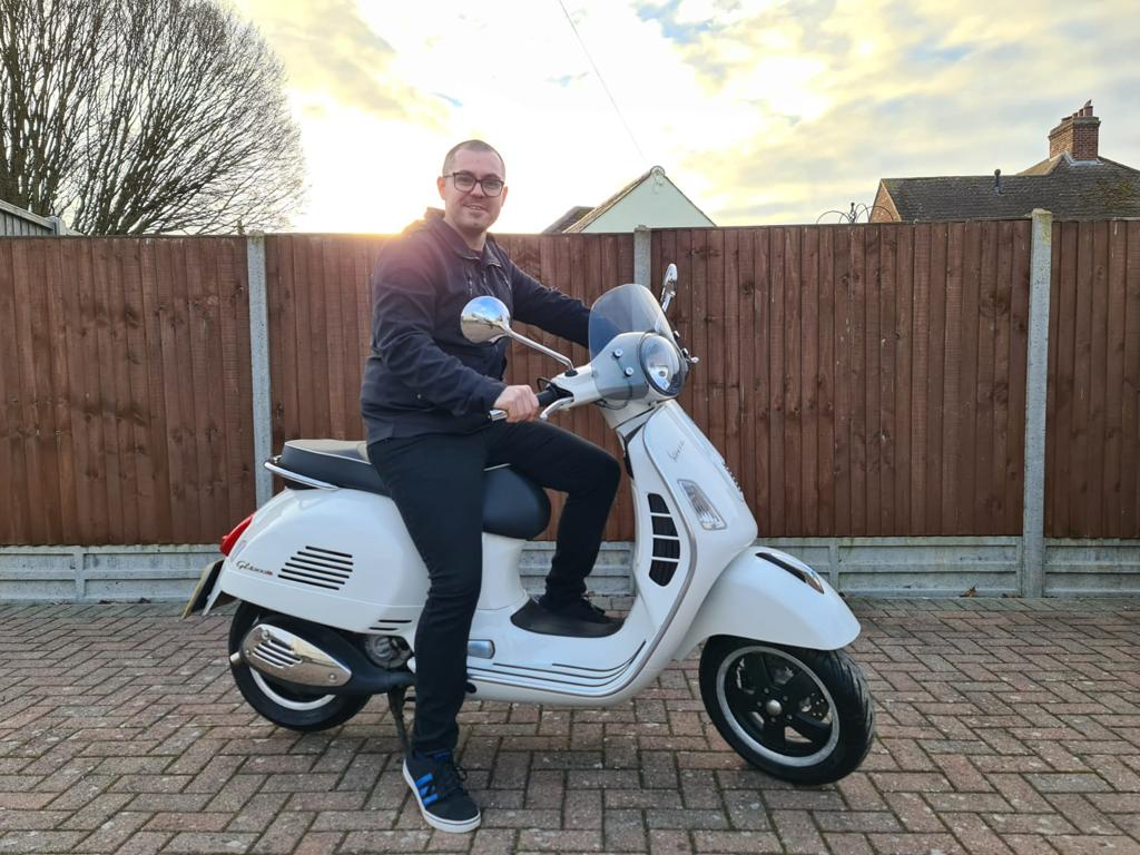 Winner Matt Childerley of a 2010 Vespa GTS300 Super - 1st March