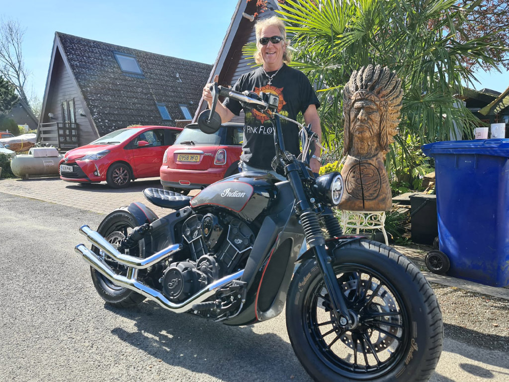 Winner adrian chesterfield of a Custom Indian Scout Bobber - 19th April