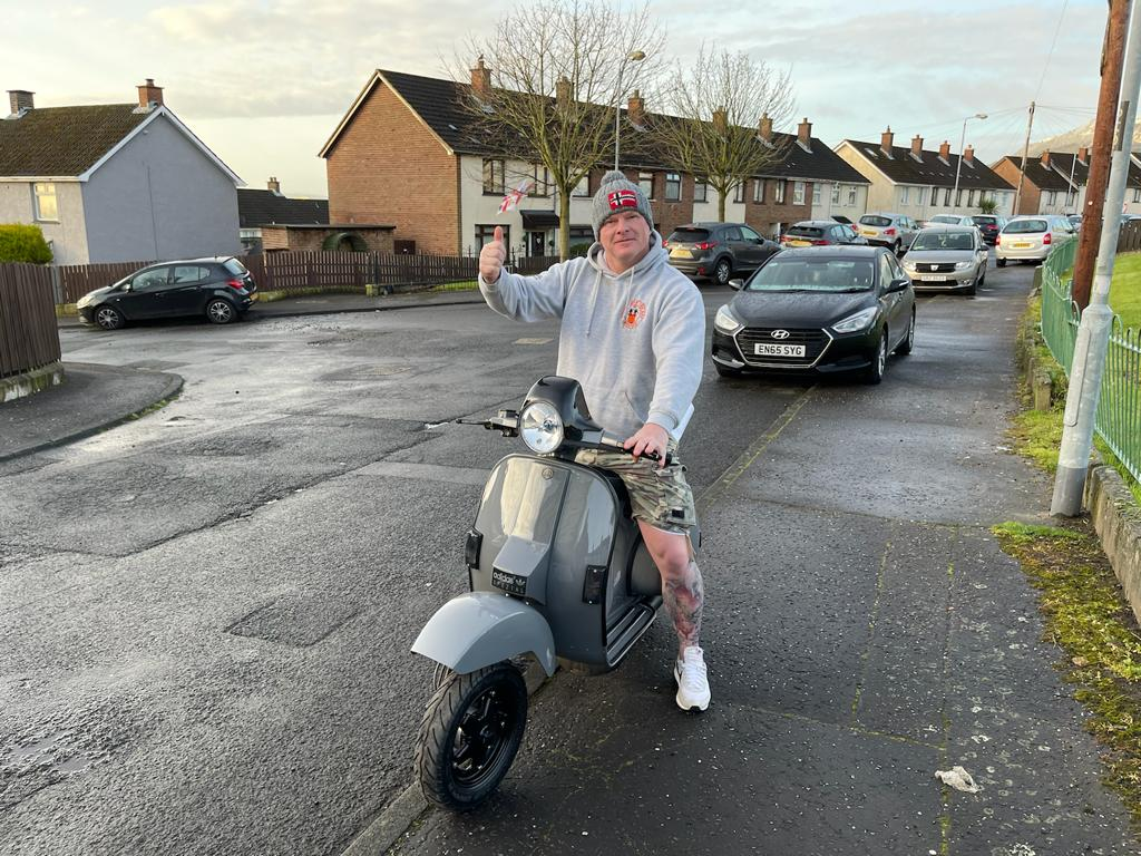 Winner Andrew Goudie of a Vespa 1999 T5 Classic - 15th March