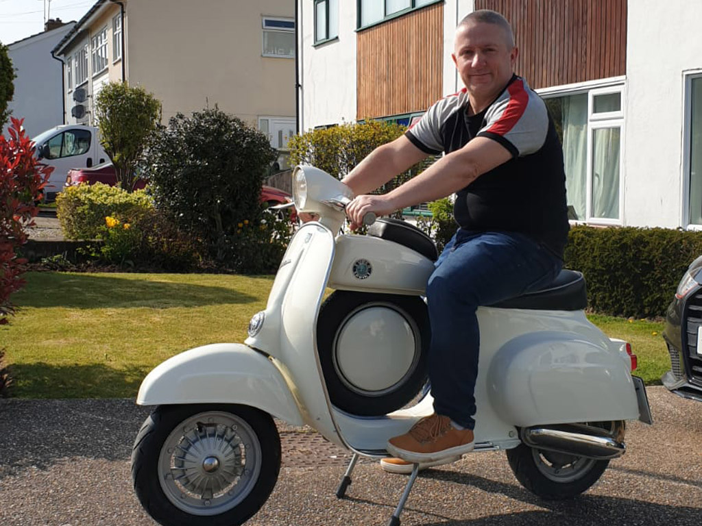Winner Lee Bradford of a 1967 Vespa 50 SS - 19th April