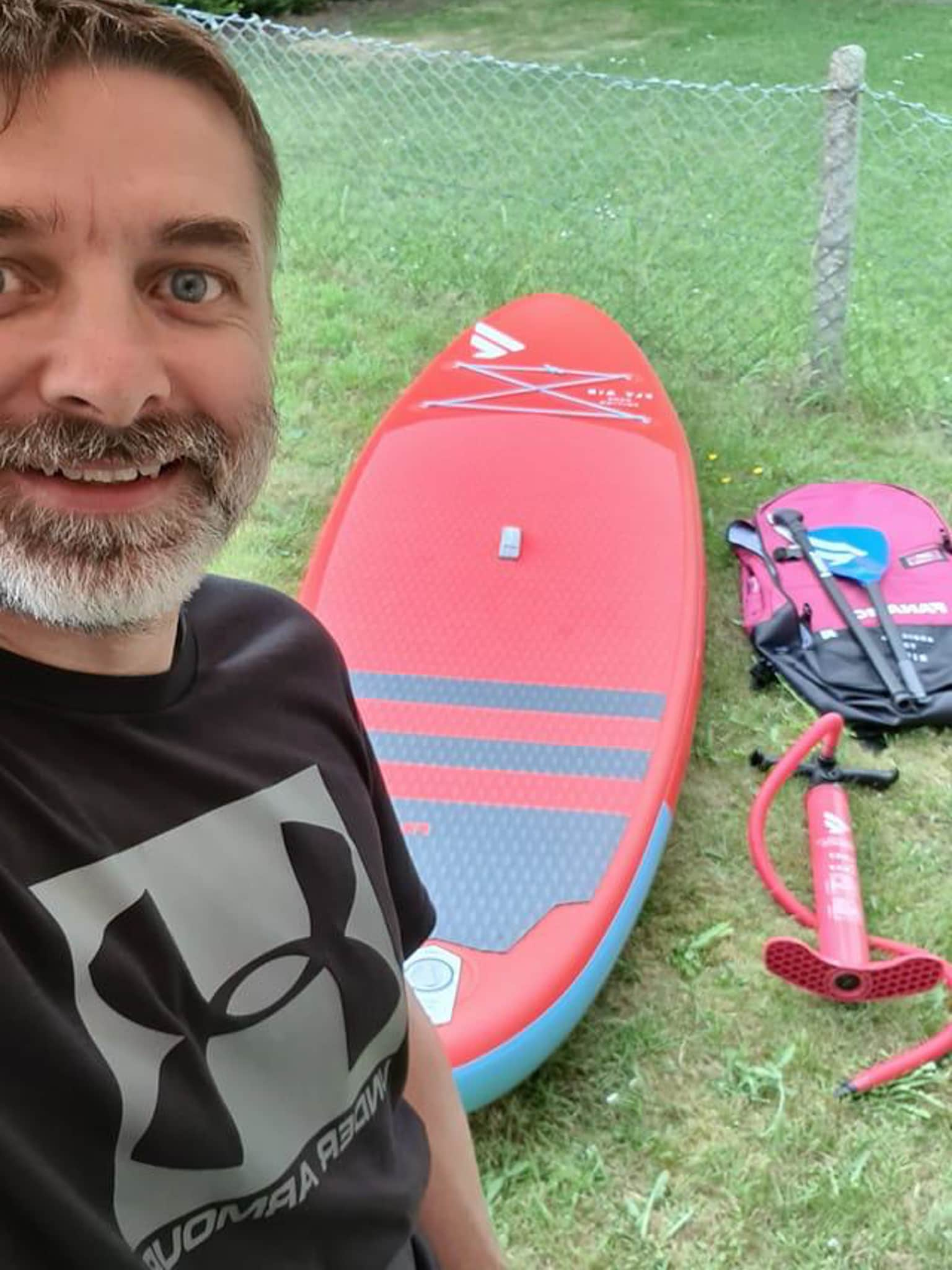 Winner Andrew Thompson of a Fly Air Stand up Paddle Board (Red) and clothing Bundle! - 7th June