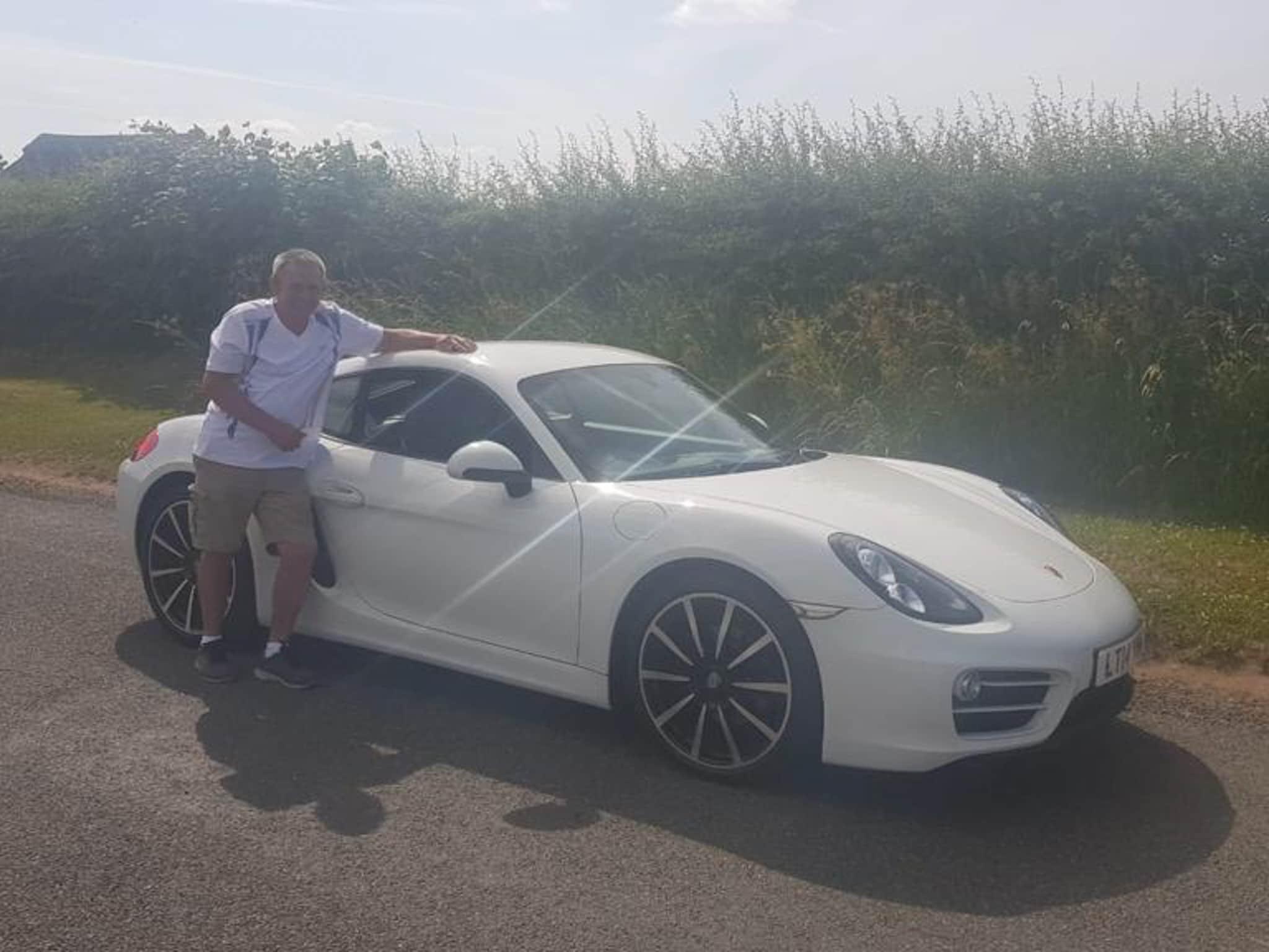 Winner Peter Walker of a 2014 Porsche Cayman - Carrera White - 28th June