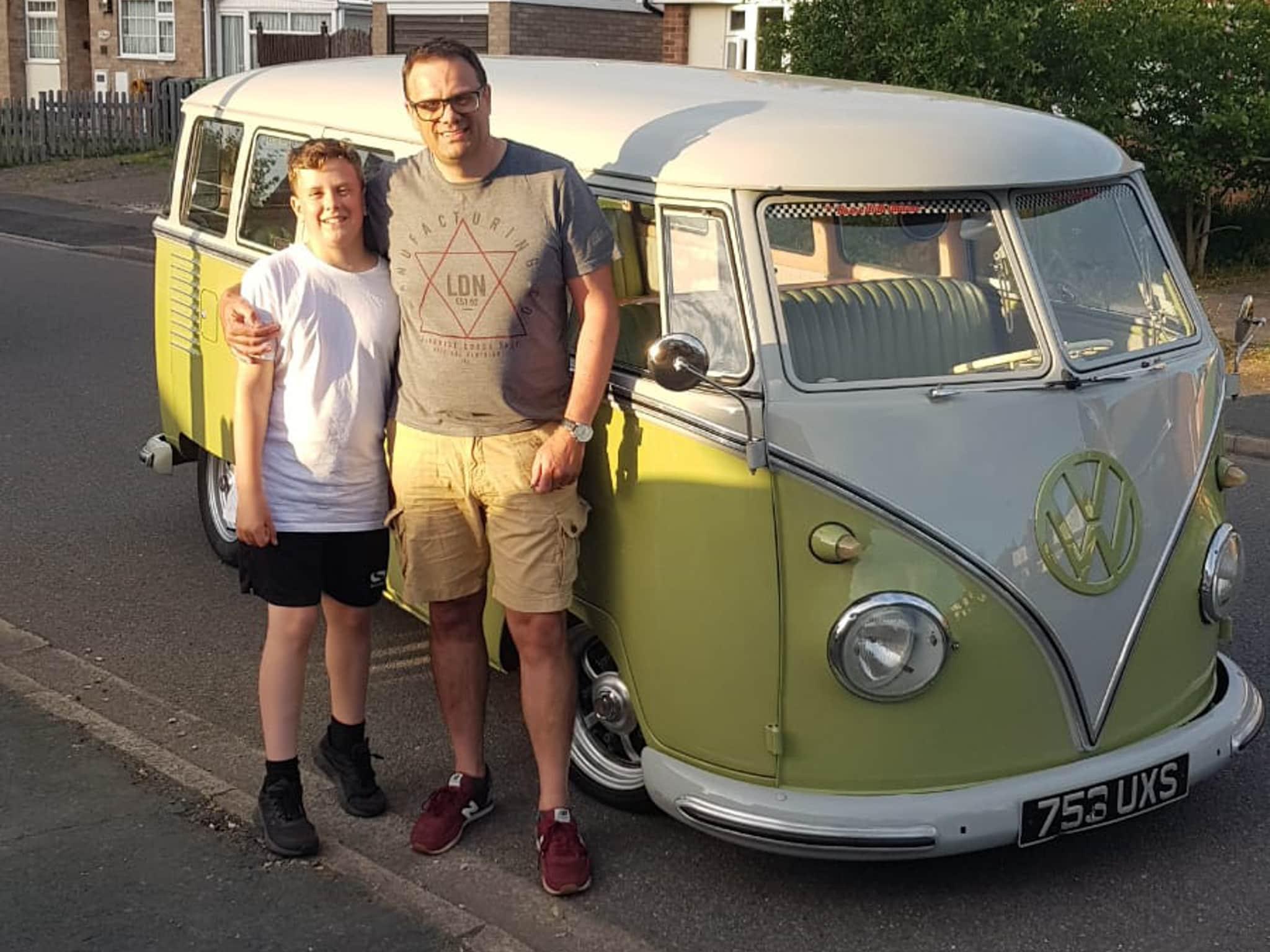 Winner Alistair Carlton of a 1961 VW Splitscreen - German 15 Window Deluxe - 14th June