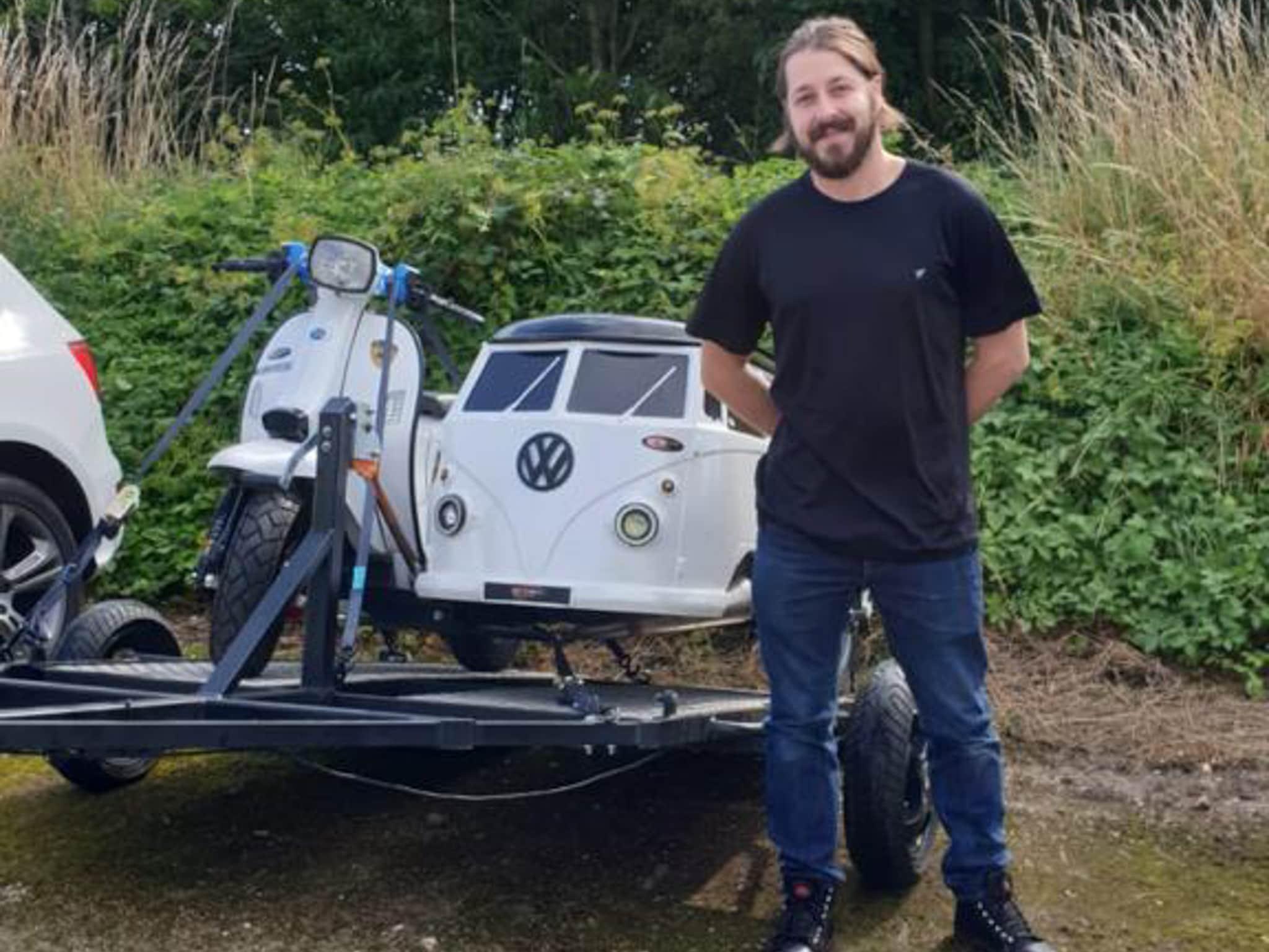 Winner James Gray of a Scomadi FP 200 and VW Splitscreen Sidecar with custom trailer - Bonkers!  2nd Aug
