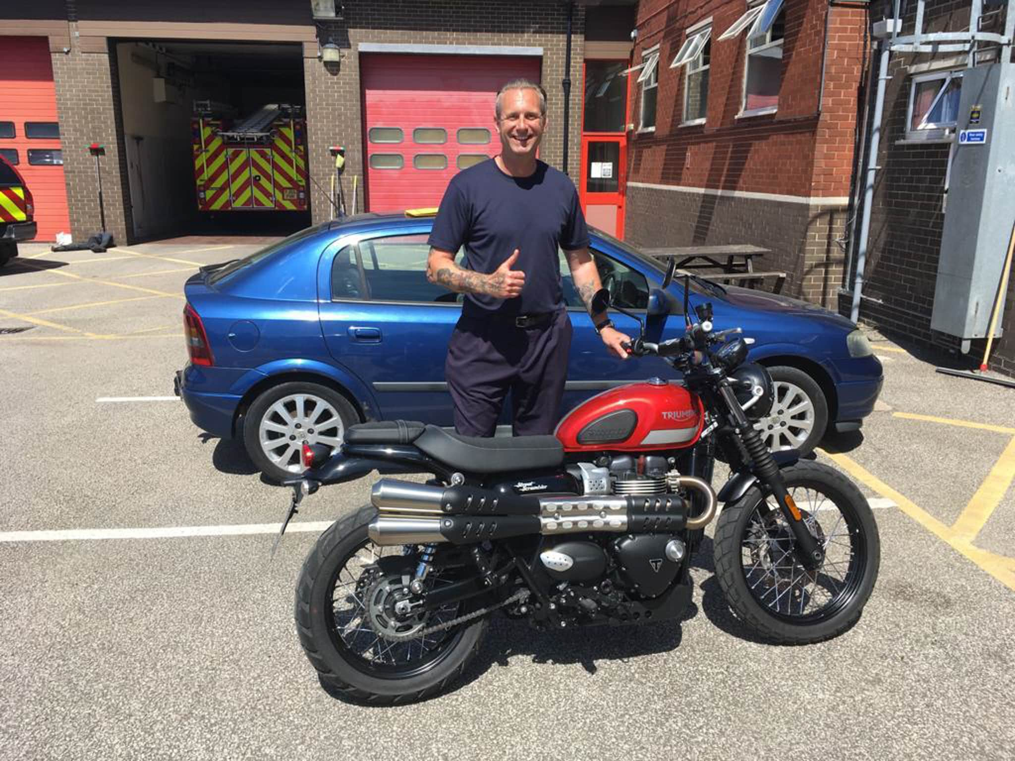 Winner Mark Leatherland of a 2017 Triumph Street Scrambler 900 - 14th June