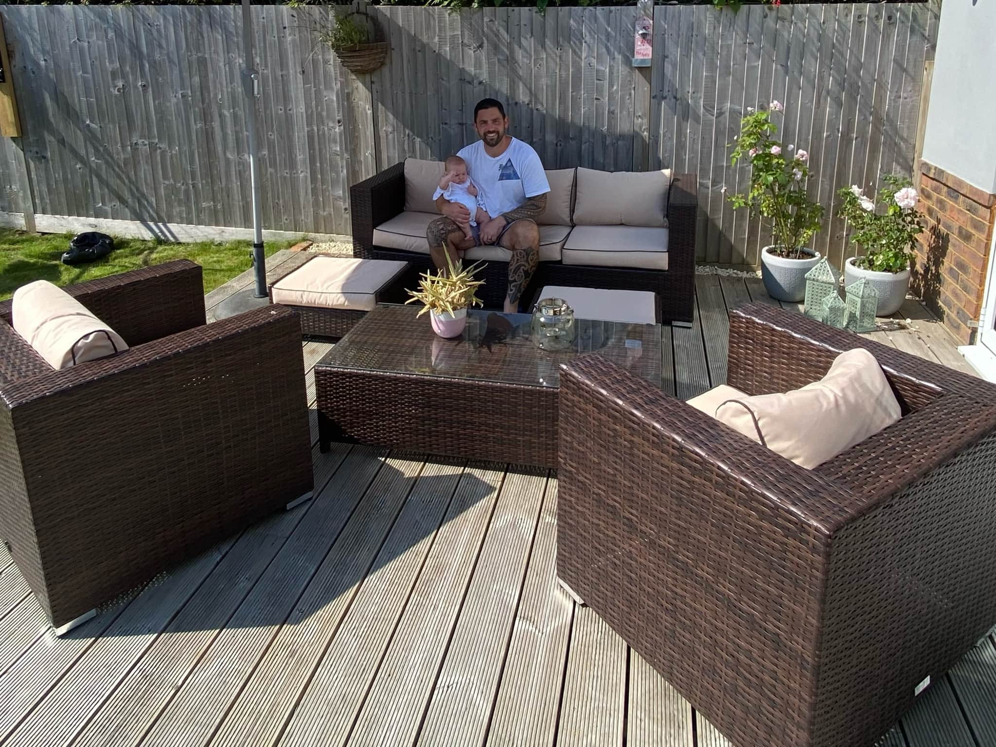 Winner Steven Mather of a Ascot 3 Seater Rattan Garden Sofa Set in Chocolate and Cream - 12th July