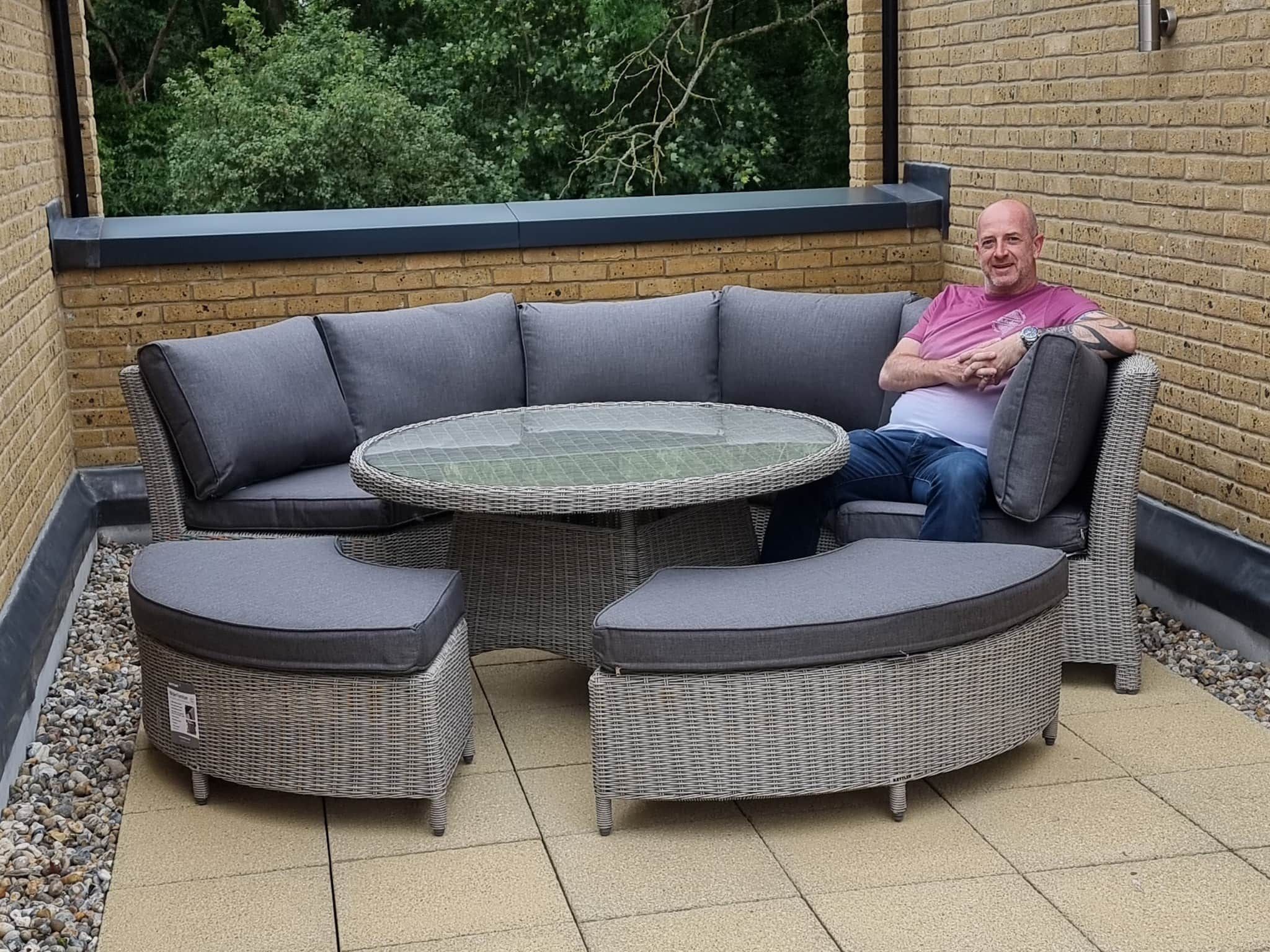 Winner Phil Bodycote of a KETTLER Palma 8 Seater Round Garden Dining Table and Chairs Set, Rattan - 7th June