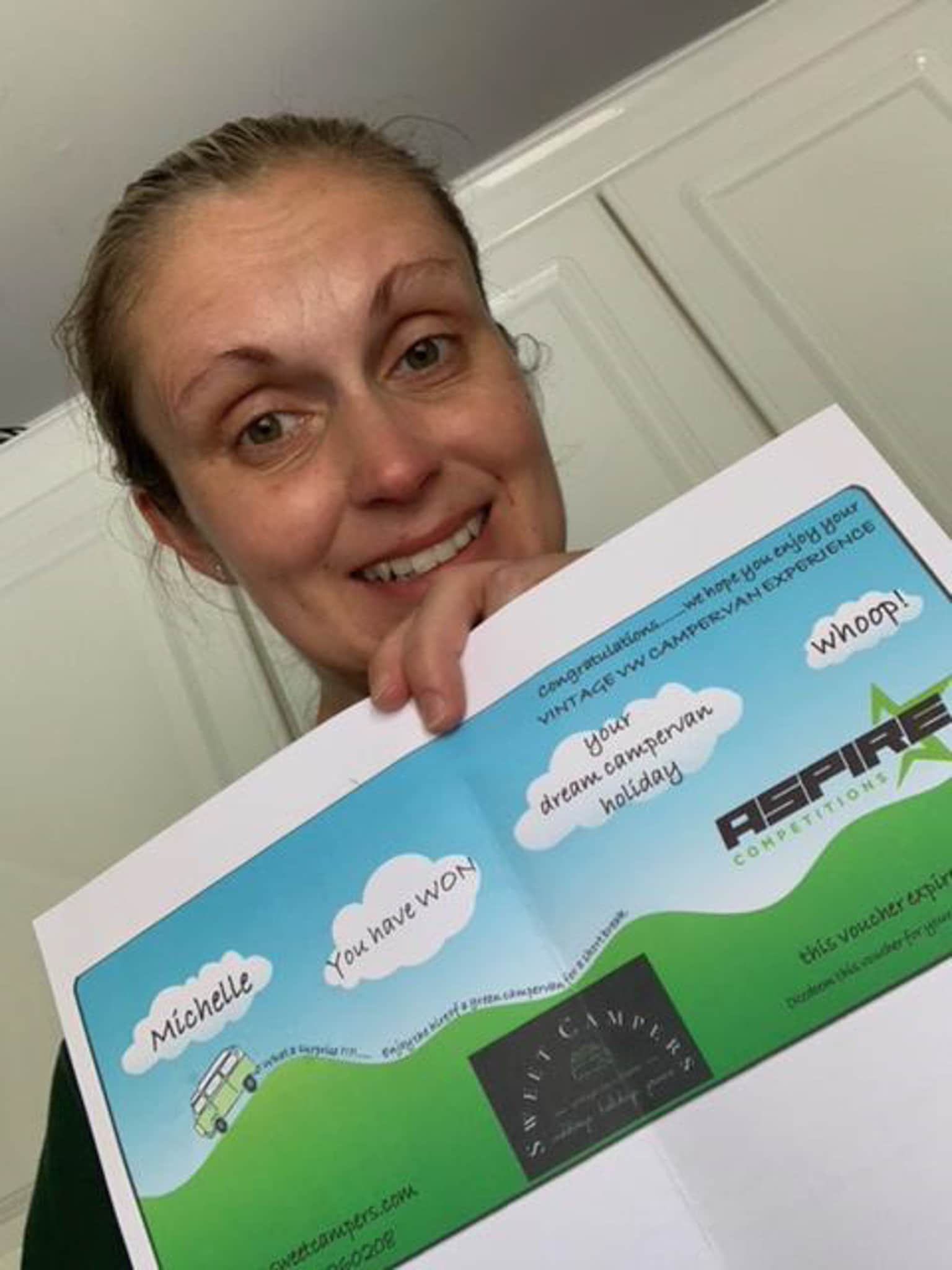 Winner Michelle Galloway of a Staycation VW Camper Hire - 24th May