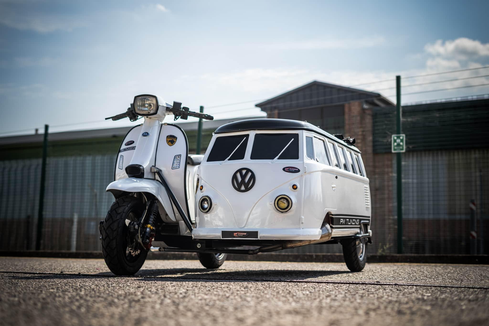 Scomadi FP 200 and VW Splitscreen Sidecar with custom trailer - Bonkers!  2nd Aug