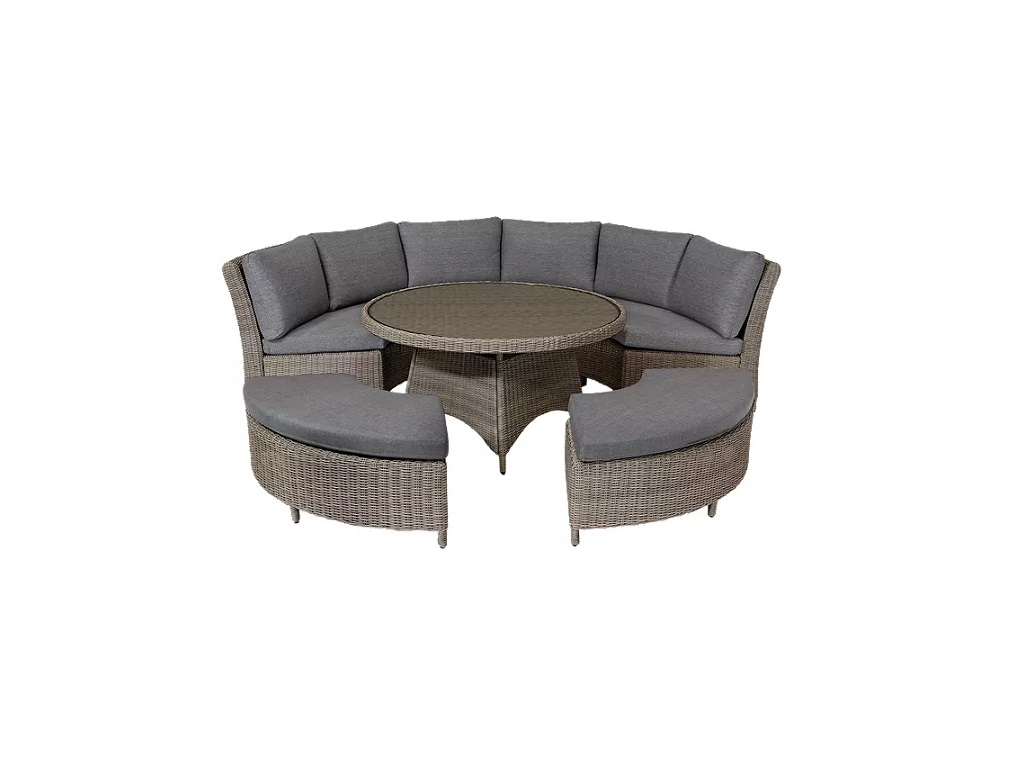 KETTLER Palma 8 Seater Round Garden Dining Table and Chairs Set, Rattan - 7th June