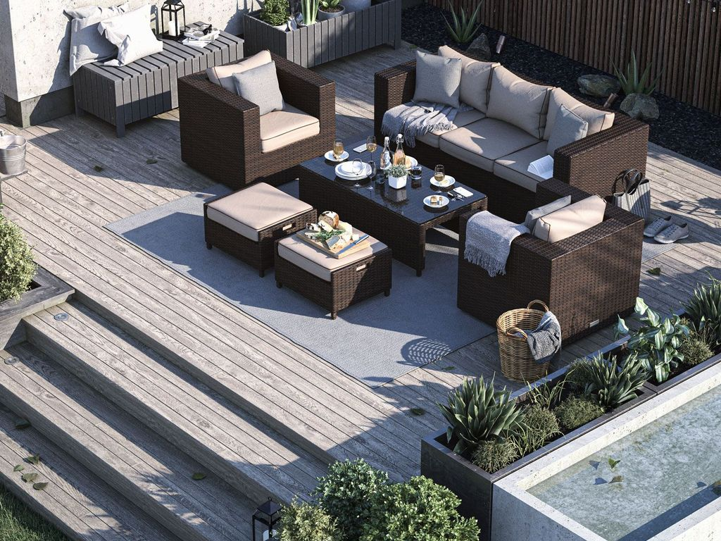 Ascot 3 Seater Rattan Garden Sofa Set in Chocolate and Cream - 12th July