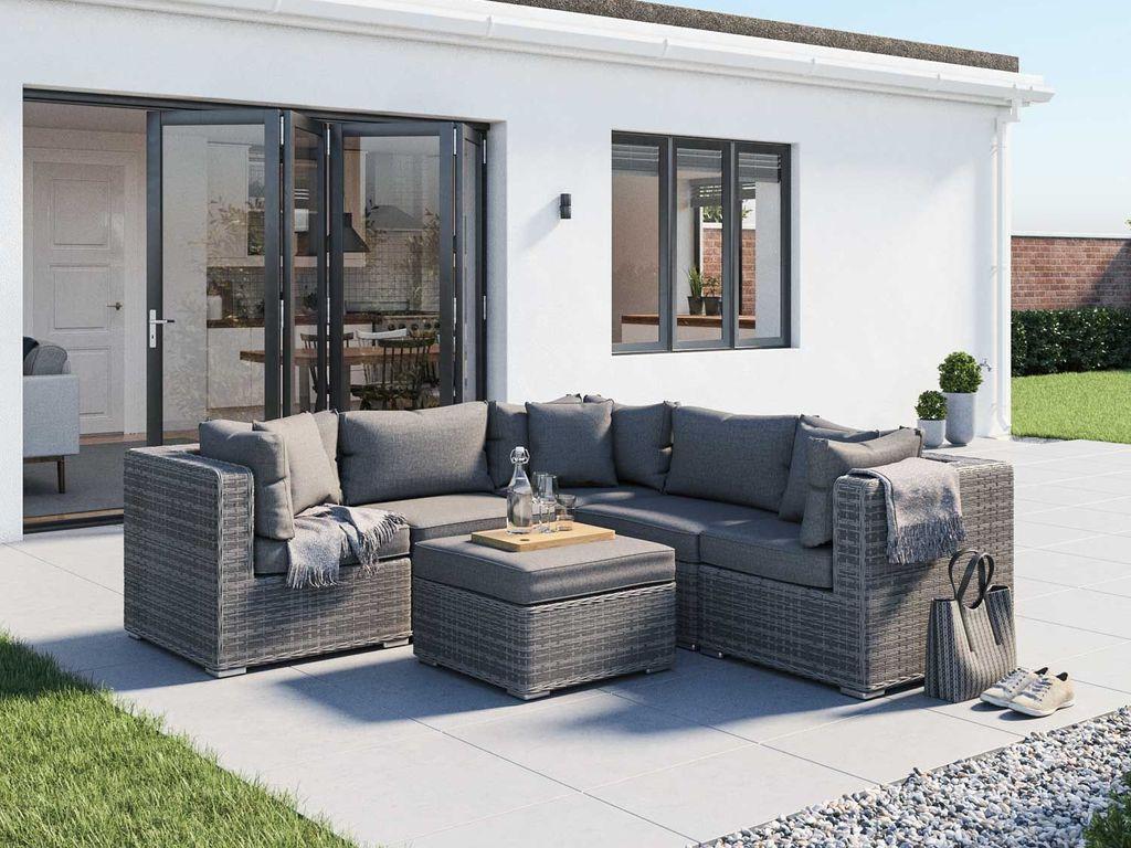 6 Piece Rattan Garden Corner Sofa Set in Grey - 26th July