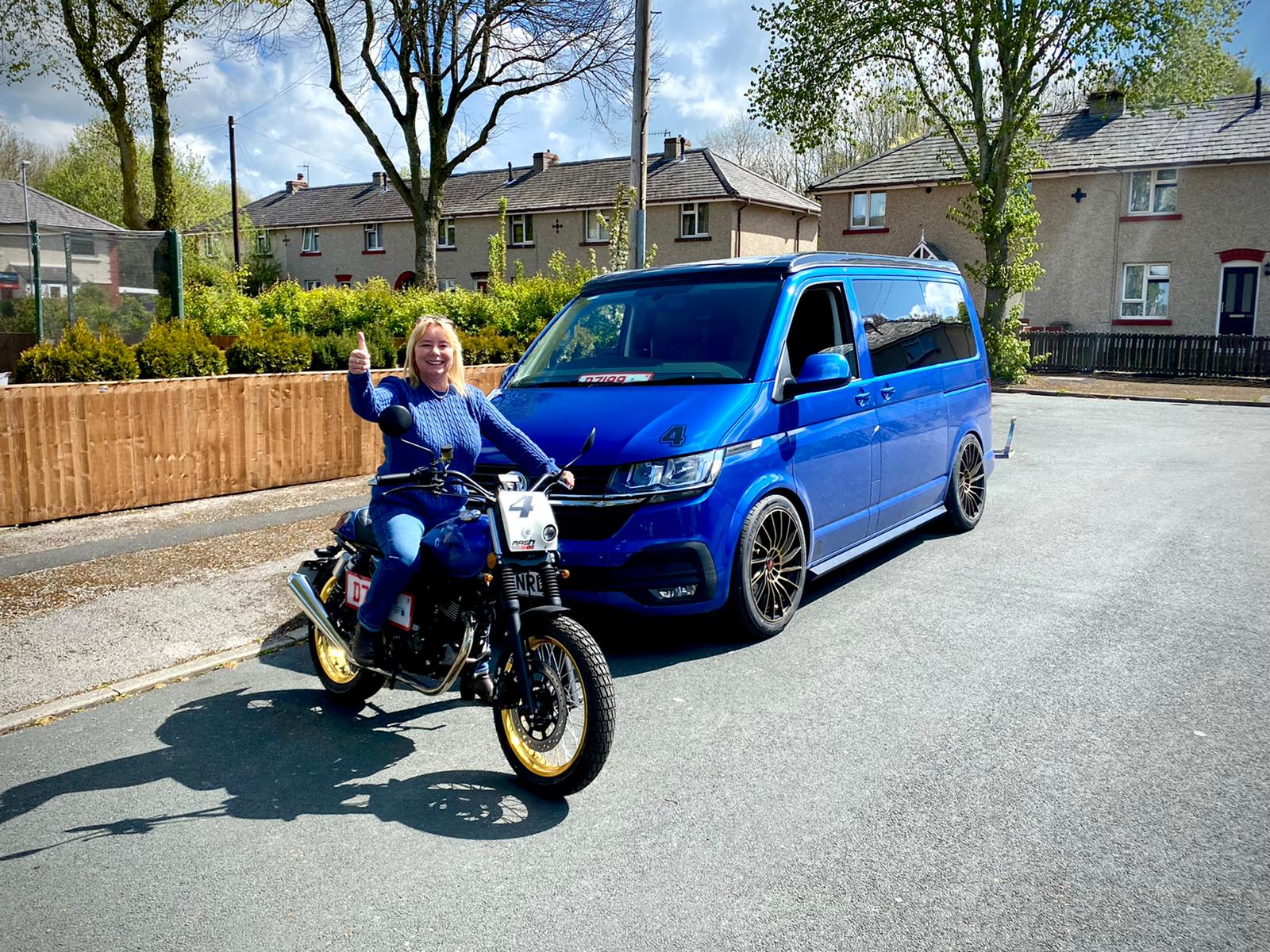 Winner susan Smith of a 2020 VW T6.1 Highline combo with Motorbike - 5th April