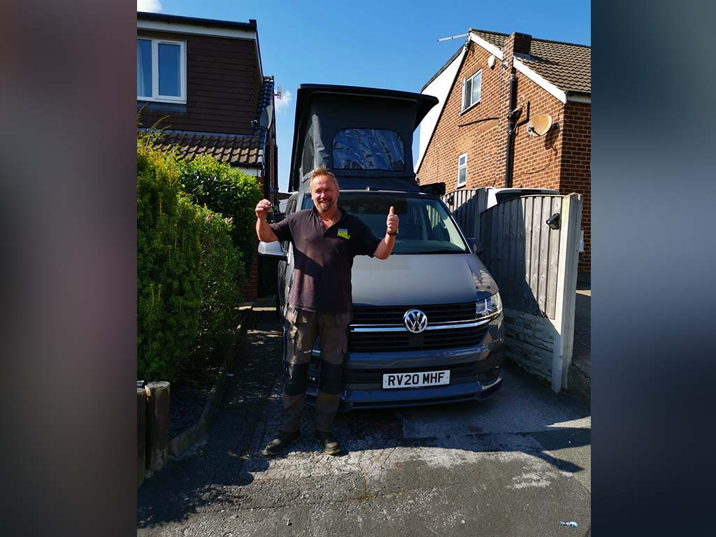 Winner Paul Griffin of a 2020 VW T6.1 Highline - Pure Grey 2.0 TDI - Pop Top Roof - 6th Sep