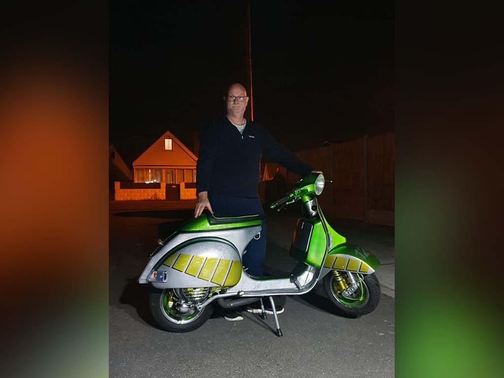 Winner David Dalley of a Vespa PX Malossi 210 - 6th Sep