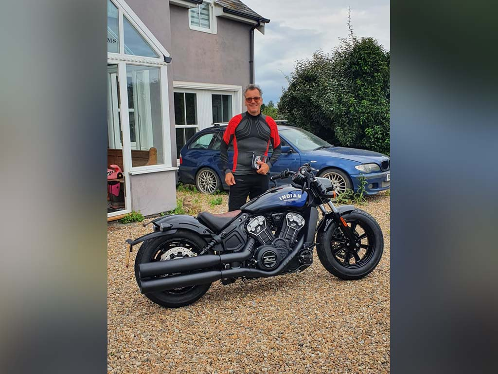Winner Martin Stenning of a Brand New Indian Scout Bobber 1200 ICON in Black Azure Crystal – 13th September